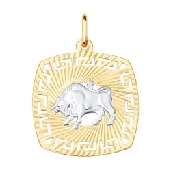 Подвеска «Телец» из золота без камней SOKOLOV