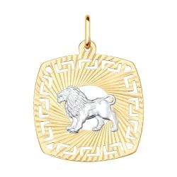Подвеска «Лев» из золота без камней SOKOLOV