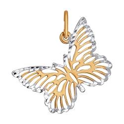 Золотая подвеска Бабочка без камней SOKOLOV