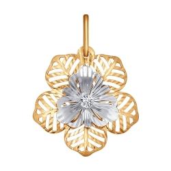Подвеска из золота «Цветок» c фианитами SOKOLOV