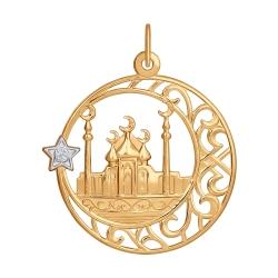 Золотая мусульманская подвеска c фианитами SOKOLOV
