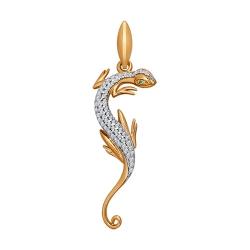 Подвеска «Ящерица» из золота с фианитами SOKOLOV