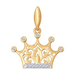 Золотая подвеска в виде короны с фианитами SOKOLOV