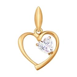 Золотая подвеска в виде сердца с фианитами SOKOLOV