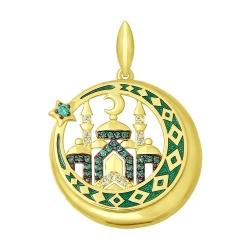Подвеска из желтого золота эмалью с бесцветными и зелеными фианитами