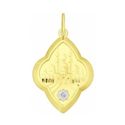 Подвеска из желтого золота с фианитом SOKOLOV