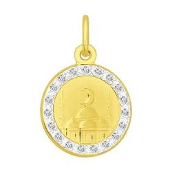 Подвеска из желтого золота с фианитами SOKOLOV