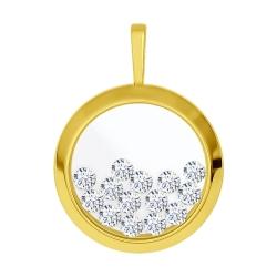 Подвеска из желтого золота с минеральным стеклом и фианитами SOKOLOV