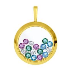 Подвеска из желтого золота с минеральным стеклом и бесцветными, голубыми, зелеными сиреневыми фианитами SOKOLOV