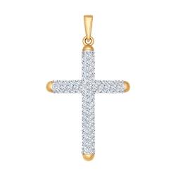 Золотой крестик (Фианит) SOKOLOV