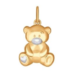 Золотая подвеска «Мишка» без камней SOKOLOV