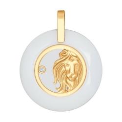 Подвеска из золота с керамической вставкой и фианитом