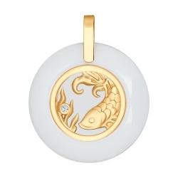 Подвеска знак зодиака из золота с керамической вставкой и фианитом