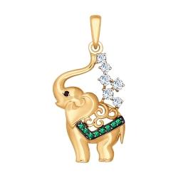 Золотая подвеска в виде слоненка (Фианит) SOKOLOV