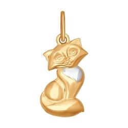 Золотая подвеска Кошка без камней SOKOLOV