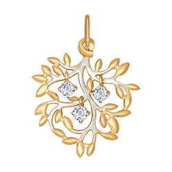 Золотая подвеска Листья (Фианит) SOKOLOV