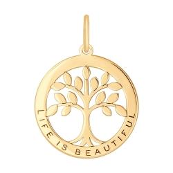 Золотая подвеска Дерево без камней SOKOLOV