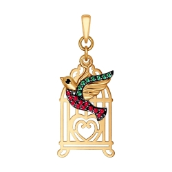Золотая подвеска Птица в клетке (Фианит) SOKOLOV