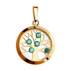 Золотая подвеска Дерево (Фианит, Минеральное стекло) SOKOLOV