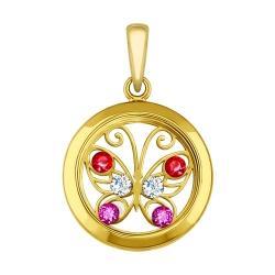 Подвеска из желтого золота с минеральным стеклом и бесцветными, красными сиреневыми фианитами SOKOLOV