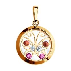 Золотая подвеска Бабочка (Фианит, Минеральное стекло) SOKOLOV