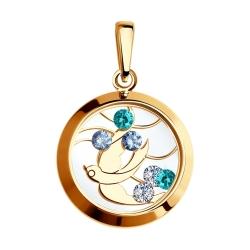 Золотая подвеска с птицей (Фианит, Минеральное стекло) SOKOLOV