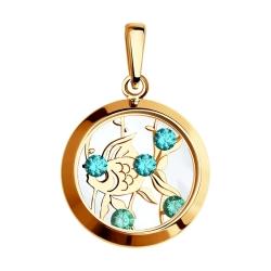 Золотая подвеска Рыбка(Фианит, Минеральное стекло) SOKOLOV
