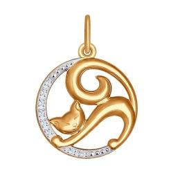 Золотая подвеска в виде кошки (Фианит) SOKOLOV
