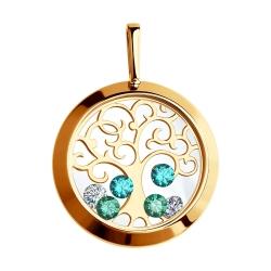 Золотая подвеска Дерево с сапфировым стеклом SOKOLOV