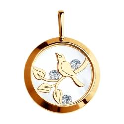 Золотая подвеска Птицы с сапфировым стеклом SOKOLOV