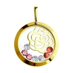 Подвеска из желтого золота с минеральным стеклом и бесцветными, красными розовыми фианитами SOKOLOV