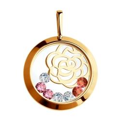 Золотая подвеска Цветы с сапфировым стеклом SOKOLOV
