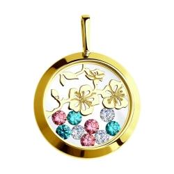 Подвеска из желтого золота с минеральным стеклом и бесцветными, зелеными розовыми фианитами SOKOLOV