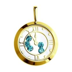 Подвеска из желтого золота с минеральным стеклом и голубыми фианитами SOKOLOV