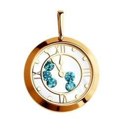Золотая подвеска Часы  с сапфировым стеклом SOKOLOV