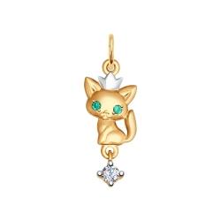 Золотая подвеска Кошка (Фианит) SOKOLOV
