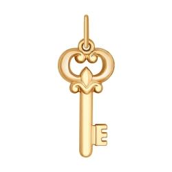 Золотая подвеска Ключ без камней SOKOLOV