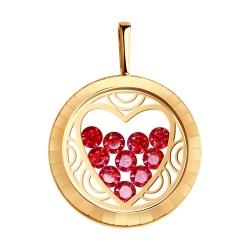 Подвеска из золота с минеральным стеклом и красными фианитами SOKOLOV CRUISE