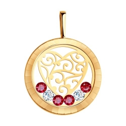Подвеска из золота со swarovski zirconia, минеральным стеклом и красными фианитами SOKOLOV CRUISE