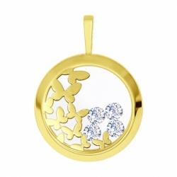 Подвеска из желтого золота с гравировкой со Swarovski Zirconia и стекло минеральное