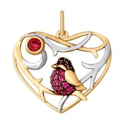 Подвеска из золота с красными корунд (синт.) красным и чёрными фианитами