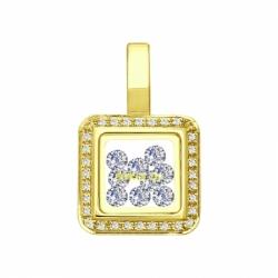 Подвеска из желтого золота с минеральным стеклом и фианитами