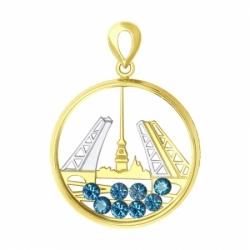Подвеска из желтого золота с синими Swarovski Zirconia и минеральным стеклом