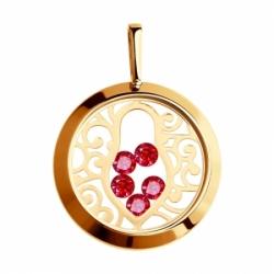 Подвеска из золота с минеральным стеклом и красными фианитами
