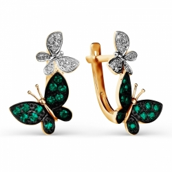 Золотые серьги Бабочки с изумрудом, бриллиантами