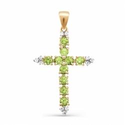 Крестик из красного золота с хризолитом
