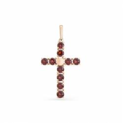 Крестик из красного золота с гранатом