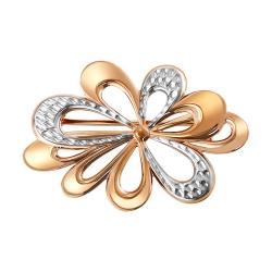 Золотая брошь «Цветок» без камней SOKOLOV