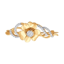 Золотая брошь «Цветок» c фианитами SOKOLOV