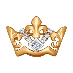 Золотая брошка Корона (Фианит) SOKOLOV
